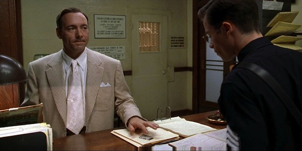 Kevin Spacey  and Guy Pearce in Curtis Hanson's   L.A. Confidential