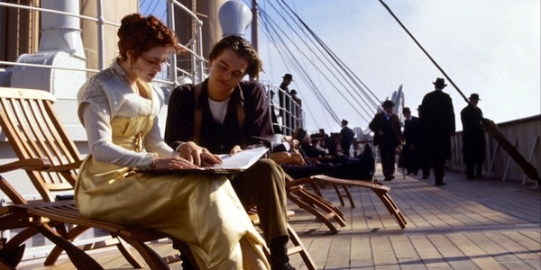 Kate Winslet and Leonardo DiCaprio in James Cameron's  Titanic