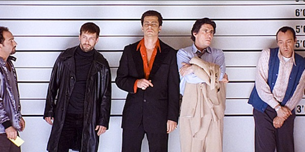 Kevin Pollack, William Baldwin, Benicio Del Toro, Gabriel Byrne and Kevin Spacey in Bryan Singer's The Usual Suspects
