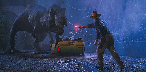 Sam Neill distracts a T-Rex in Steven Spielberg's Jurassic Park