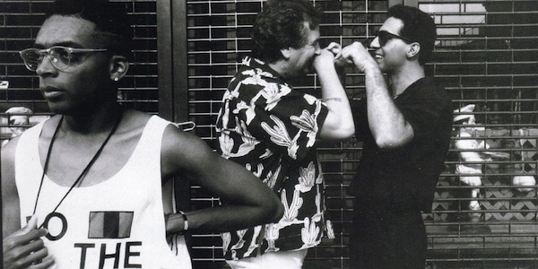 Spike Lee, with Danny Aiello and John Turturro clowning around, on the set of Do the Right Thing