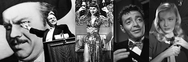 (left to right) Orson Welles presents Orson Welles in Citizen Kane, Barbara Stanwyck in Ball of Fire, Peter Lorre in The Maltese Falcon and Veronica Lake in Sullivan's Travels