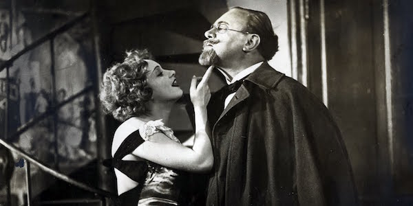 Malene Dietrich and Emil Jannings in Josef von Sternberg's  The Blue Angel