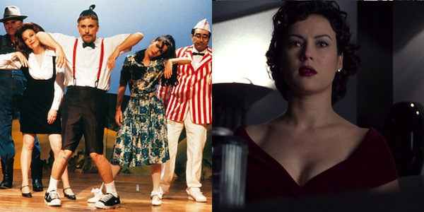 Top:Best Ensemble Cast (in alphabetical order):Bob Balaban, Paul Benedict,Christopher Guest, Michael Hitchcock, Don Lake, Eugene Levy,Larry Miller, Catherine O'Hara, Parker Posey, Deborah Theaker andFred Willard in Christopher Guest's Waiting for Guffman Bottom:Jennifer Tilly in Lana Wachowski and Lily Wachowski's Bound