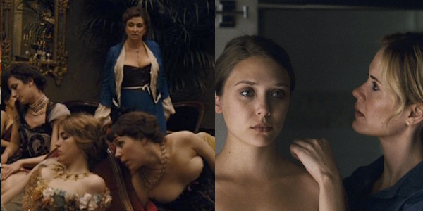 Left: Best Ensemble Cast (in alphabetical order): Alice Barnole, Xavier Beauvois, Adele Haenel, Hafsia Herzi, Noemie Lvosky, Jacques Nolot, Celine Sallette, Jasmine Trinca and Iliana Zabeth in Bertrand Bonello's House of Pleasures Right: Elizabeth Olsen and Sarah Paulson in Sean Durkin's Martha Marcy May Marlene