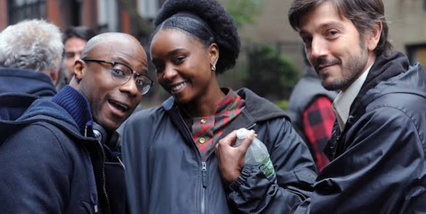 Barry Jenkins    (left) with KiKi Layne and Diego Luna on the set of  If Beale Street Could Talk