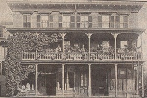 The Brennan Family Shop located at the center of town, Main St., Peterborough (notice the headstones in the lower window and the Brennan Family on the second level porch)