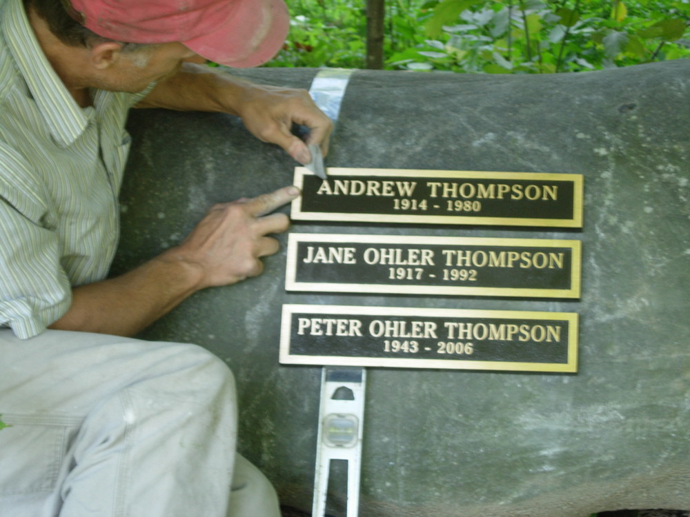Bronze Individual Name Plates  set into a boulder