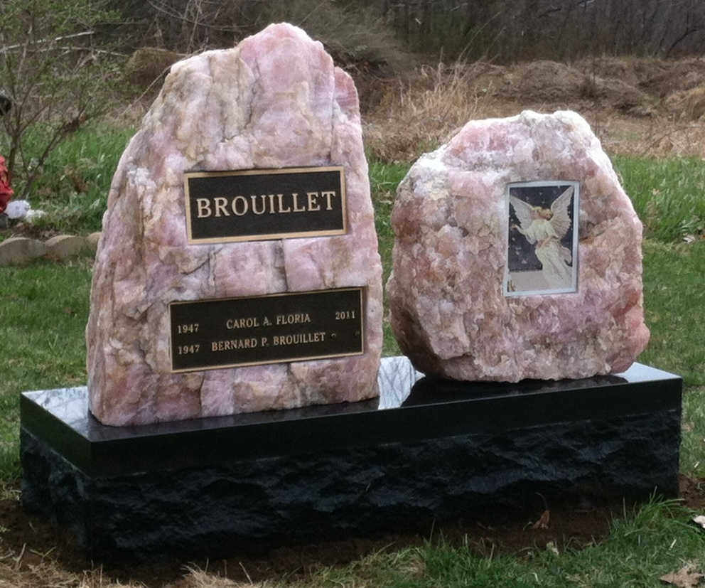 Quartz boulders paired with  Bronze Plaques  and   a  Color Porcelain  picture