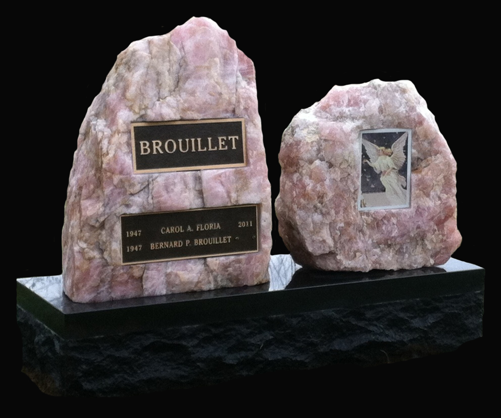 Canadian Pink Quarts on black base with bronze plaques and porcelain angel picture
