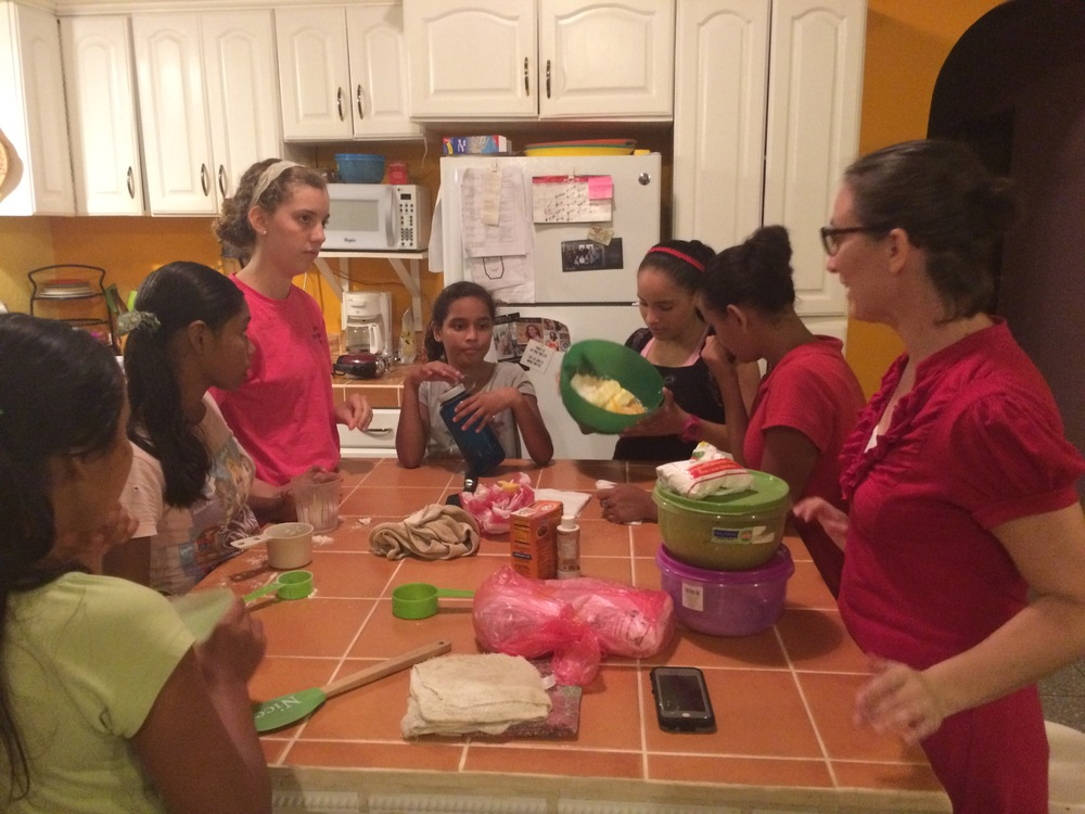 Making cookies with the teenage girls.