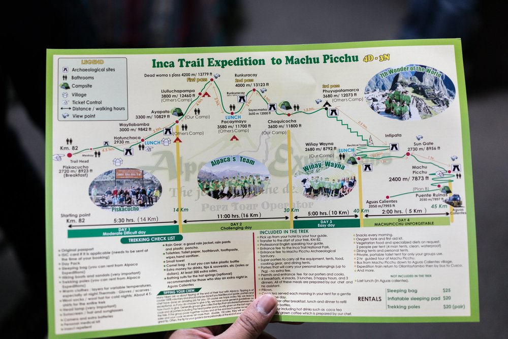 Itinerary for the 4D/3N Inca Trail.  Photo cred: Sakib Alam
