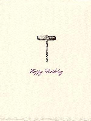Letterpress Birthday Card Wine Corkscrew