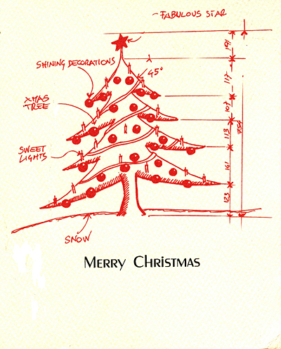 architectural christmas tree letterpress christmas cards