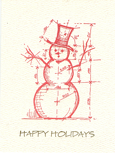 architectural snowman letterpress holiday cards museum facsimiles