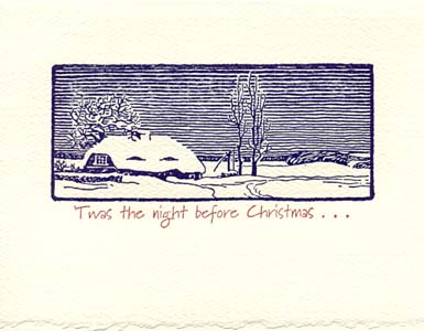 twas the night wintery scene letterpress holiday cards - Letterpress Holiday Cards