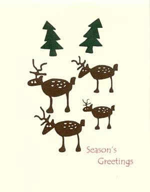 retro deer in woods letterpress holiday cards letterpress christmas - Deer Christmas Cards