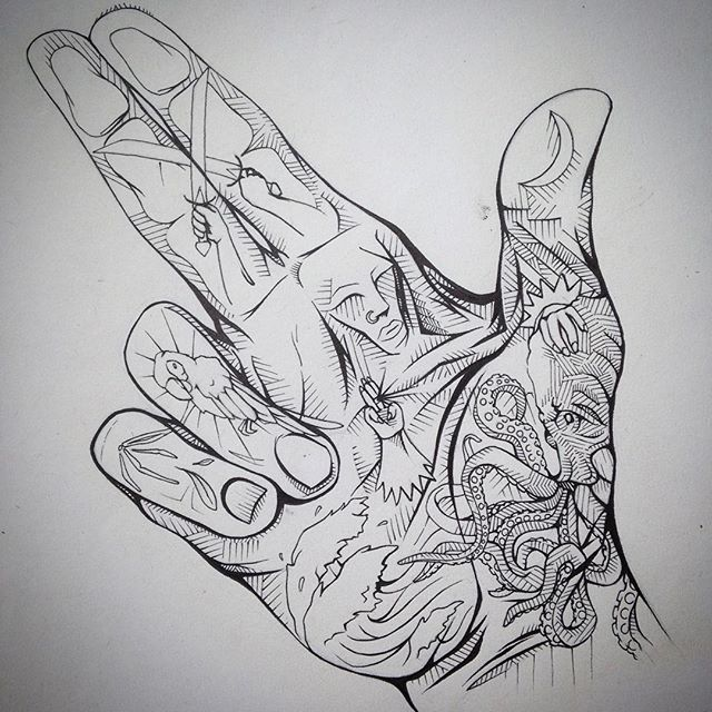 High Tide #inktober #handtattoo #seawitch #octapus #bones #deadparrot #victoryarch #humansoup #rycbrown