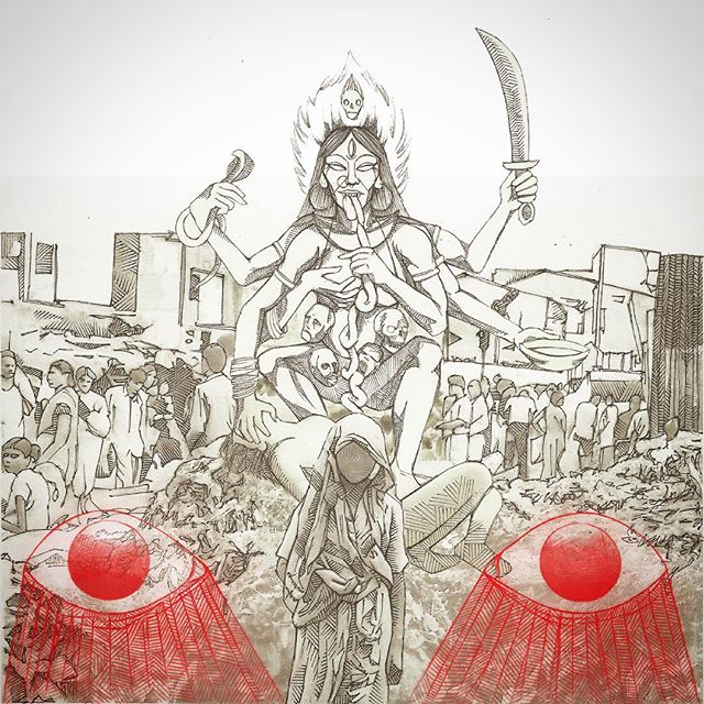 Kali at the Flower Market #inktober #photoillustration #kali #calcutta #evileyes #rycbrown #humansoup