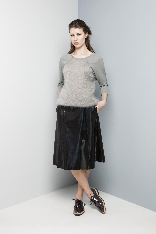Manley AW14 Abbie Mohair Jumper (slate) €220 and Abbie Patent Skirt (black) €399.jpg