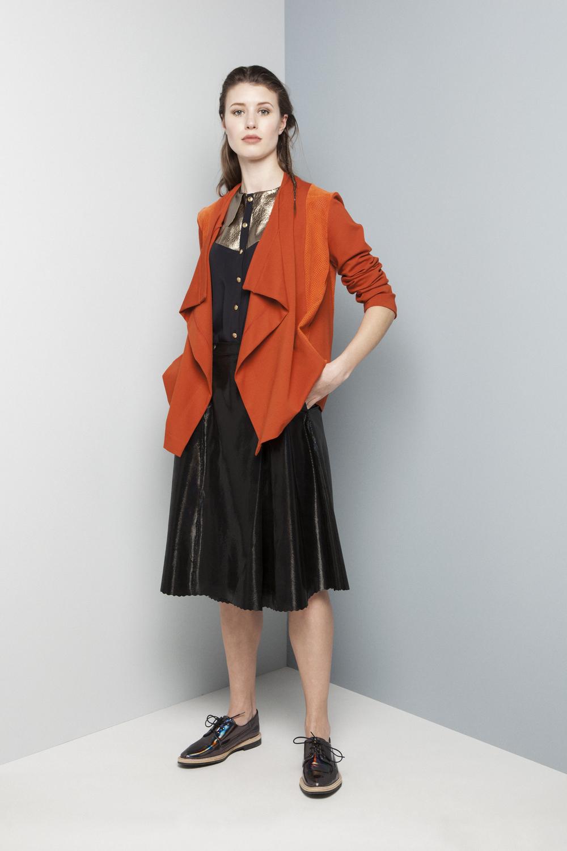 Manley AW14 Elsie Metallic Shirt €247 and Rylie Perforated Cardi (orange) €247 and Abbie Diamond Skirt (black) €416.jpg