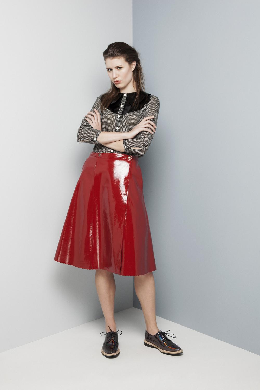 Manley AW14 Elsie Metallic Shirt €273 and Abbie Patent Skirt (red) €399.jpg