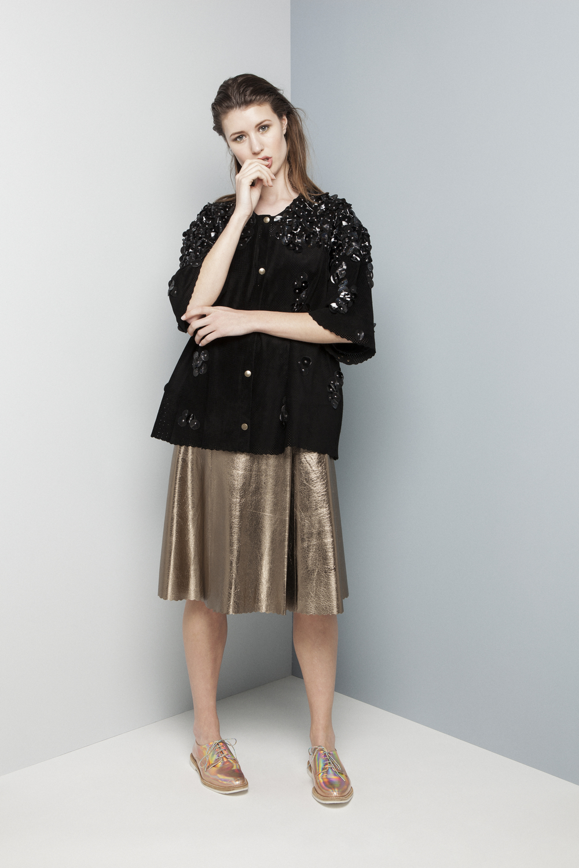 Manley AW14 Elsie Perforated Coat (black) €599 and Abbie Metallic Skirt €416.jpg