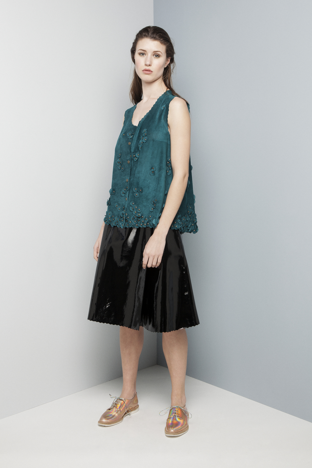 Manley AW14 Elsie Perforated Top (teal) €429 and Abbie Patent Skirt (black) €399.jpg