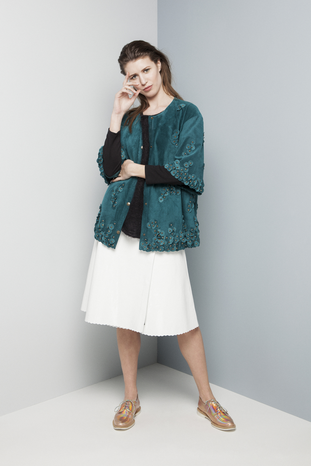 Manley AW14 Rylie Mohair Jumper (black) €220 and Elsie Perforated Coat (teal) €599 and SS14 Erin Patent Skirt (white) €430.jpg