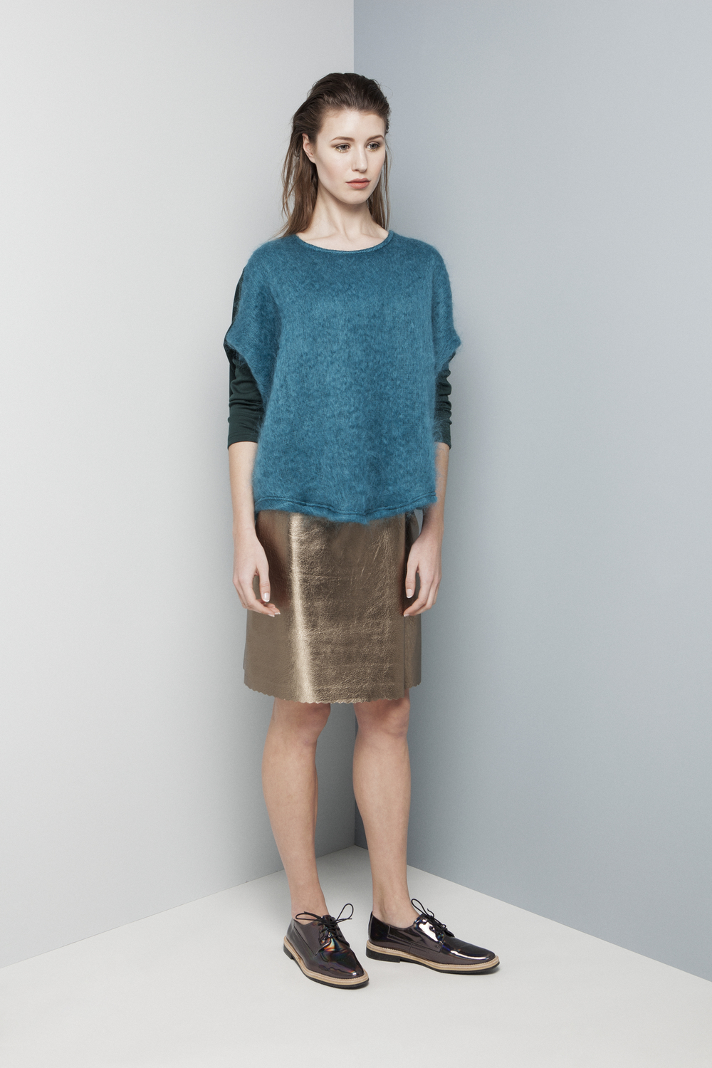 Manley AW14 Rylie Mohair Jumper (teal) €240 and Rylie Metallic Skirt (pewter) €286.jpg