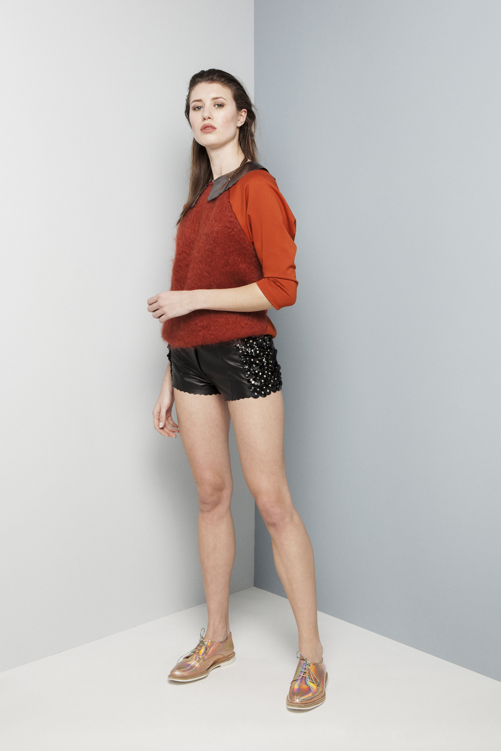 Manley AW14 Elsie Patent Shirt €247 and Abbie Mohair Jumper (orange) €220 and Rylie Shorts (black) €390.jpg