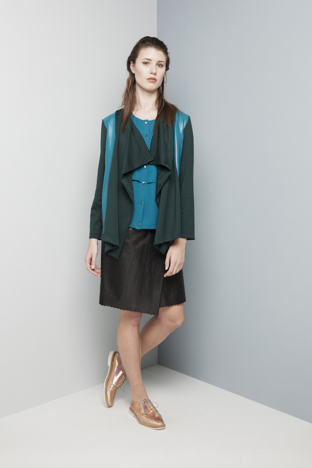 Manley AW14 Rylie Skirt (teal) €260 and Rylie Nappa Cardi (teal) €247 and Rylie Skirt (black) €286.jpg