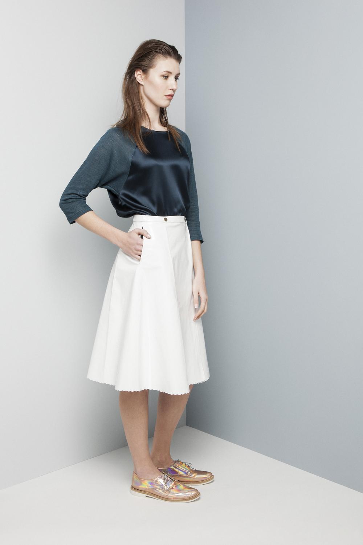 Manley SS14 Erin Jumper (teal) €198 and AW14 Erin Patent Skirt (white) €430.jpg