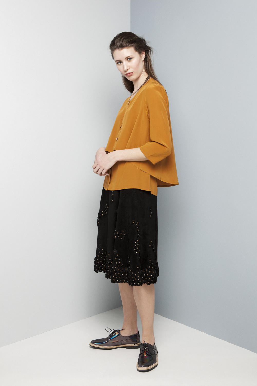 Manley AW14 Rylie Shirt (orange) €260 and Elsie Perforated Skirt €660 (1).jpg