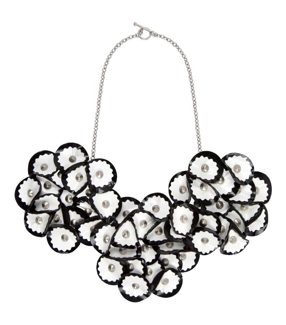 Elsie Patent Necklace /// Black on White