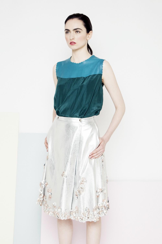 Mila Metallic Petal Skirt /// Silver