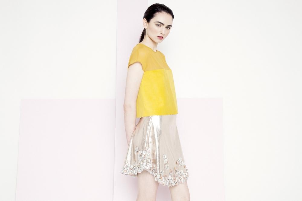 Mila Metallic Petal Skirt