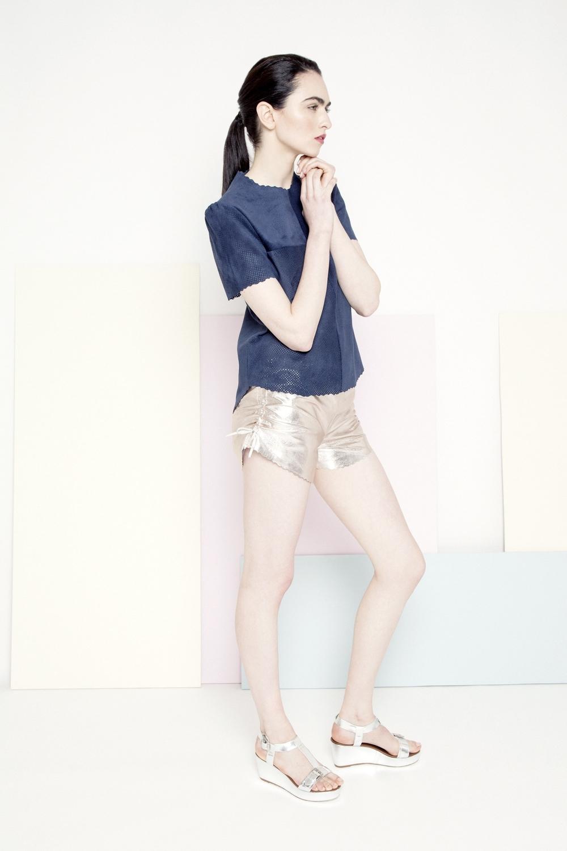 Mila Leather Tee /// Navy