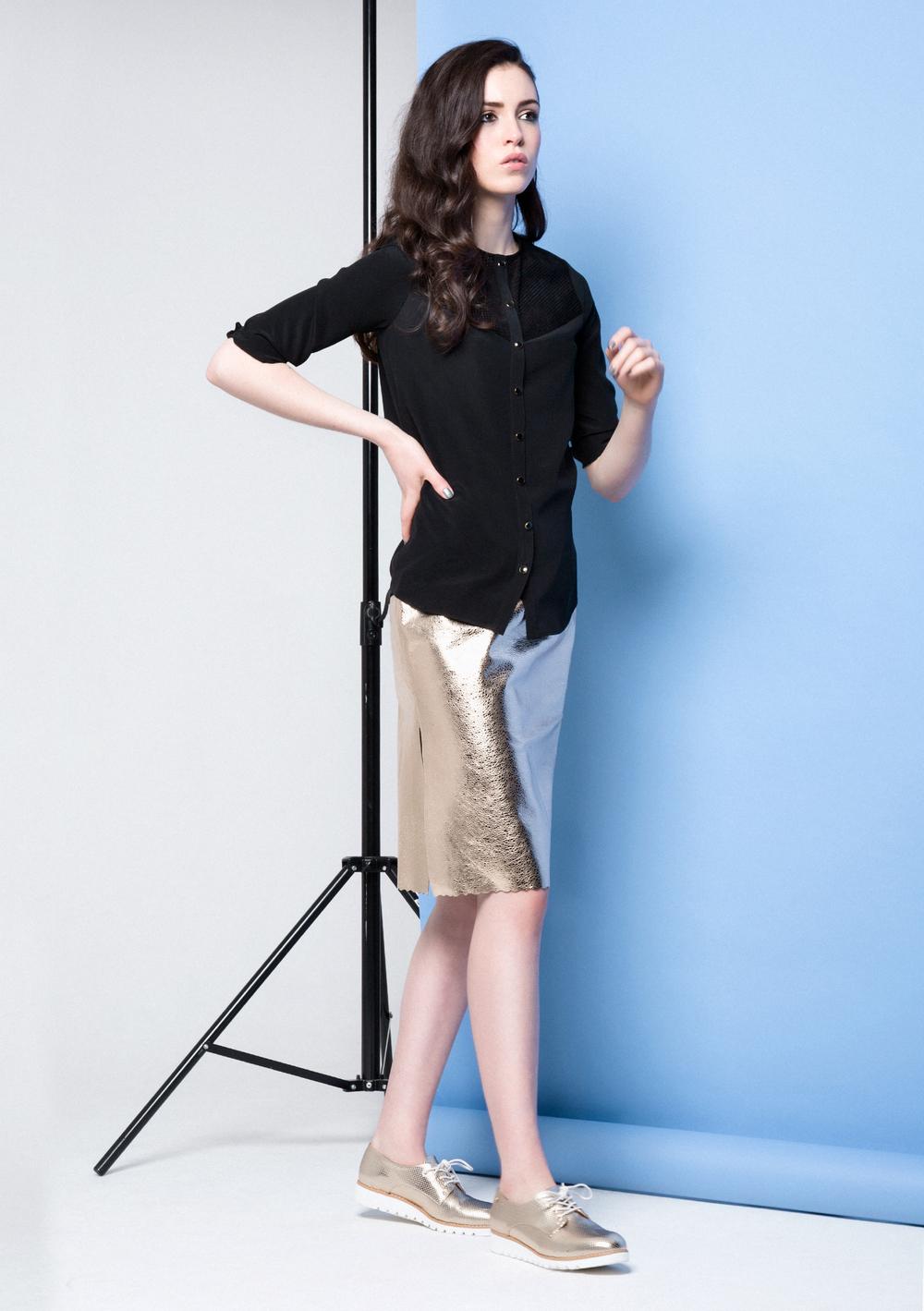 Lexi Metallic Skirt /// Gold