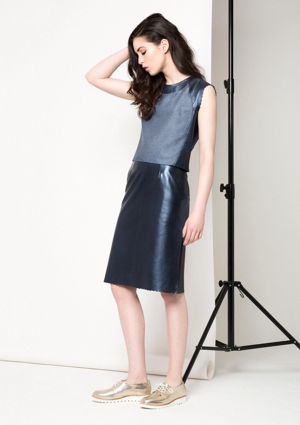 Maya Metallic Skirt /// Navy