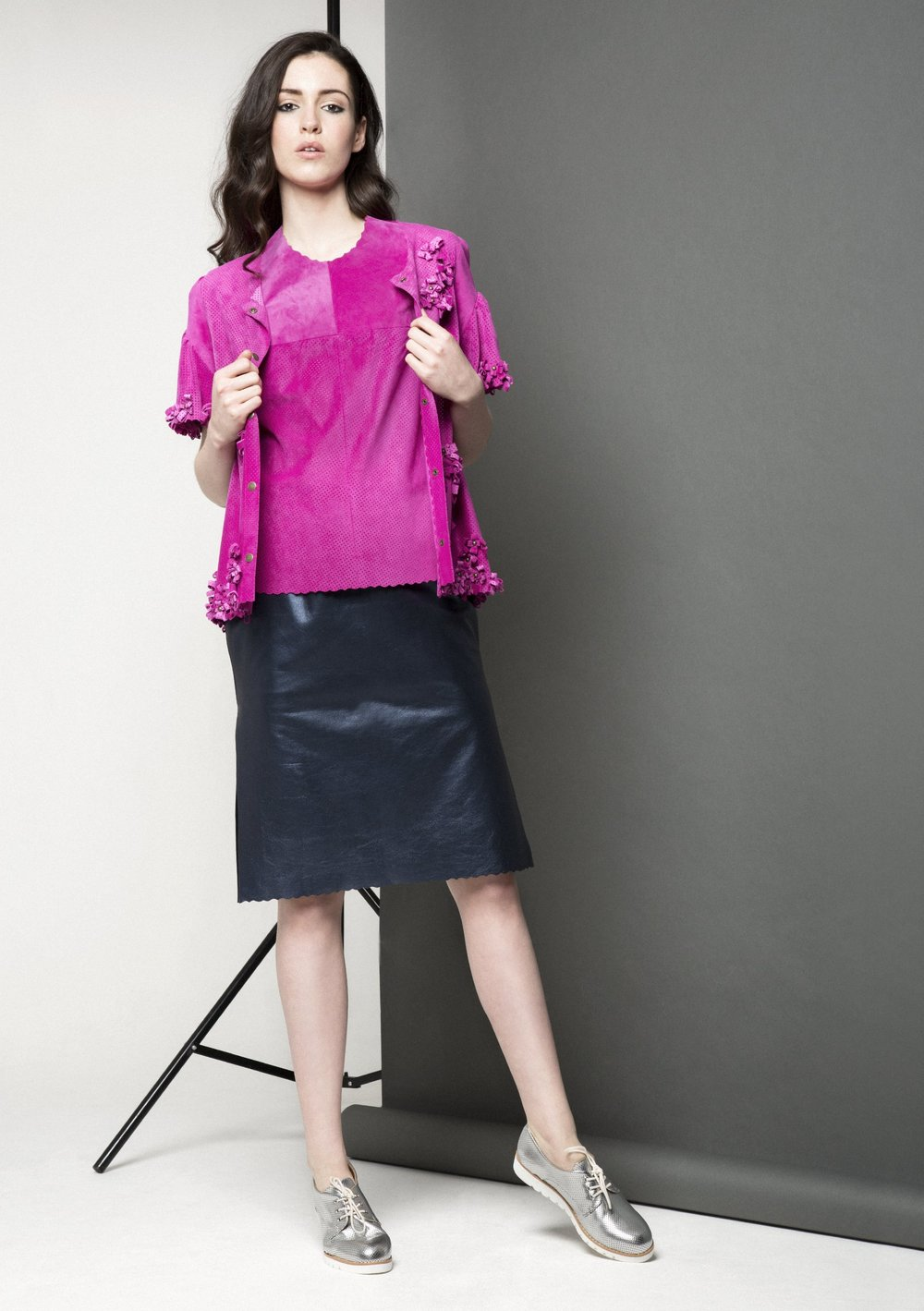 Manley AW15 Maya Leather Tee €220, Maya Bow Jacket €486, Maya Metallic Skirt €278.jpg