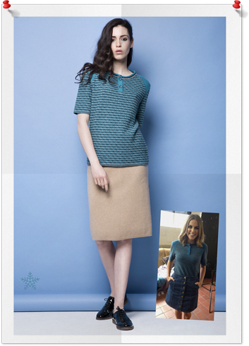 Manley Knit was a long time in the making. Seeing it come to life for AW15 was a dream come true and then seeing Amy Huberman sporting it for the Bourbon Footwear campaign was incredible. I love how she rocked our Henley tee in a cool, laid back 70's style with a denim skirt. Simply, it was perfect. This super cute knit comes in a blue and pink version and I'm in love with both.