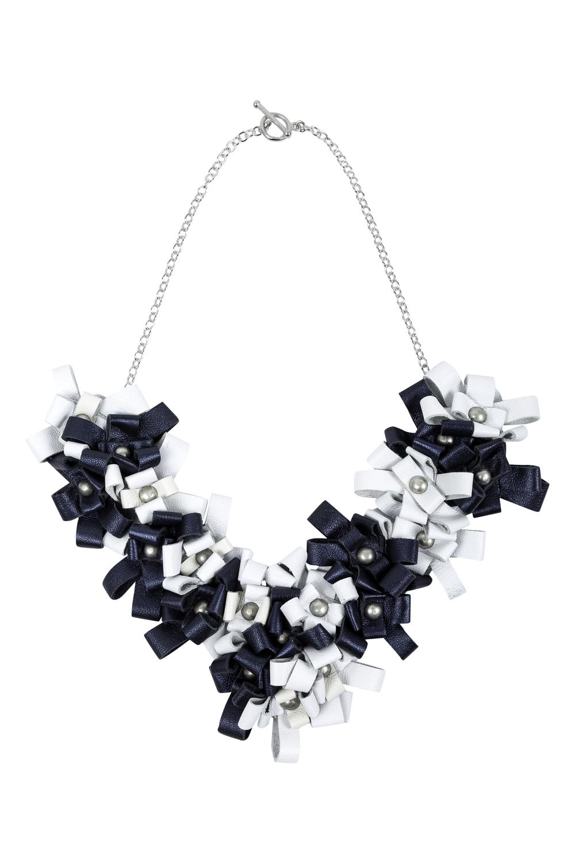 Cori Necklace /// Petrol & White