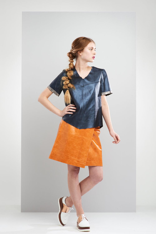 ManleyAW17 - Aubree Leather Tee - Navy €250.  Willow Skirt - Orange €375 LR.jpg