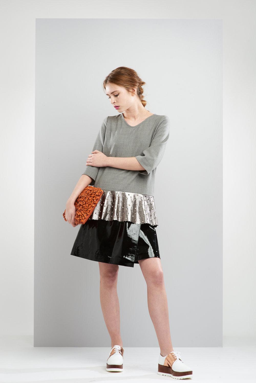ManleyAW17 - Willow Patent Skirt - Black €375. Sadie Studded Metallic Jumper  - Grey €250. Aubree Bag - Orange €230 LR 2.jpg