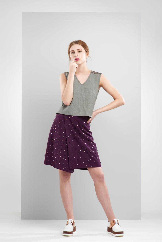 ManleyAW17 - Aubree Studded Skirt - Purple €390. Sadie Top - Grey €195 LR 2.jpg