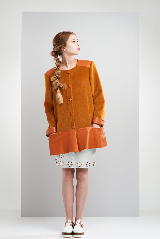 ManleyAW17 - Sadie Coat - Orange €395. Aubree Embellished Skirt - Silver €390 LR 2.jpg