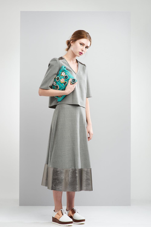 ManleyAW17 - Sadie Metallic Maxi Skirt - Grey €250. Sadie Top - Grey €230. Aubree Bag - Green €230 LR.jpg