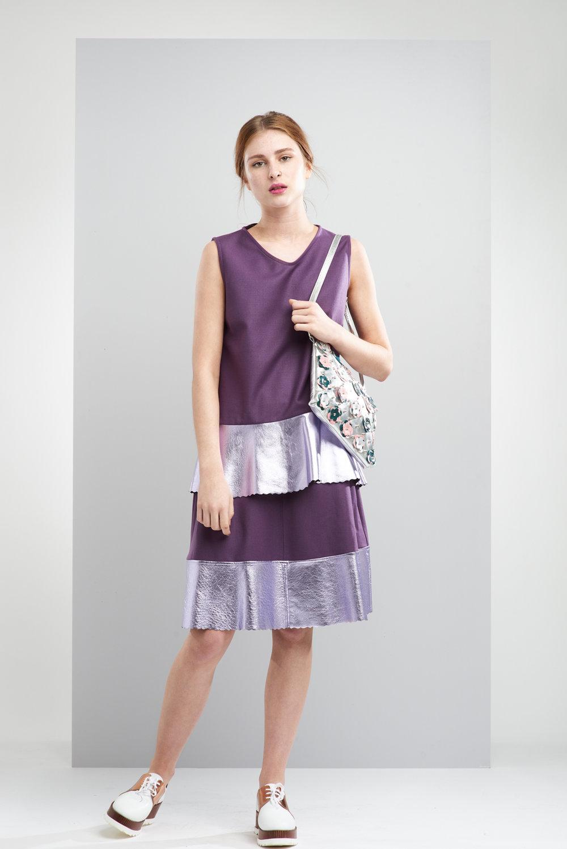 ManleyAW17 - Sadie Metallic Skirt - Purple €250. Sadie Metallic Jumper Sleeveless - Purple €199. Willow Bag - Green €230 HR.jpg