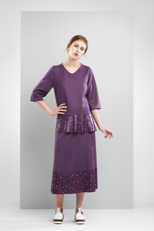 ManleyAW17 - Sadie Studded Jumper - Purple €250. Sadie Maxi Studded Skirt - Purple €250 LR.jpg